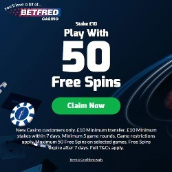 BetFred 50 free spins no wagering