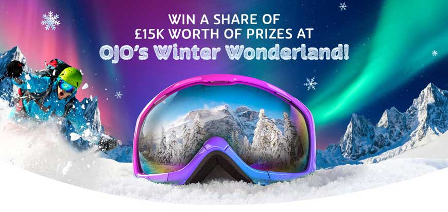 PlayOJO's 2nd Birthday Winter Wonderland Promotion Banner