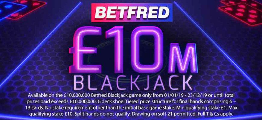 £10 Million Betfred Blackjack promotion returns