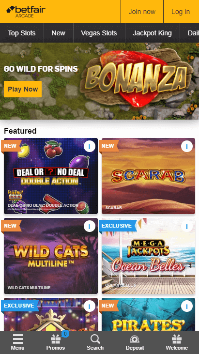 Betfair Casino Mobile Screenshot 1