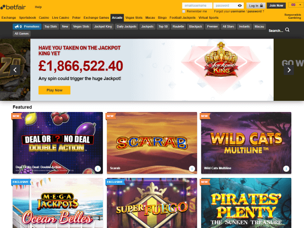 Betfair Casino Desktop Screenshot 1