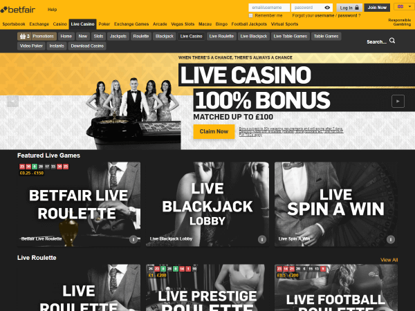 Betfair Casino Desktop Screenshot 4
