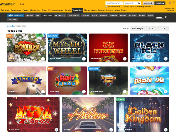 Betfair Casino Desktop Screenshot 2