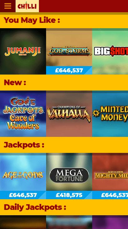 Chilli Casino Mobile Screenshot 1