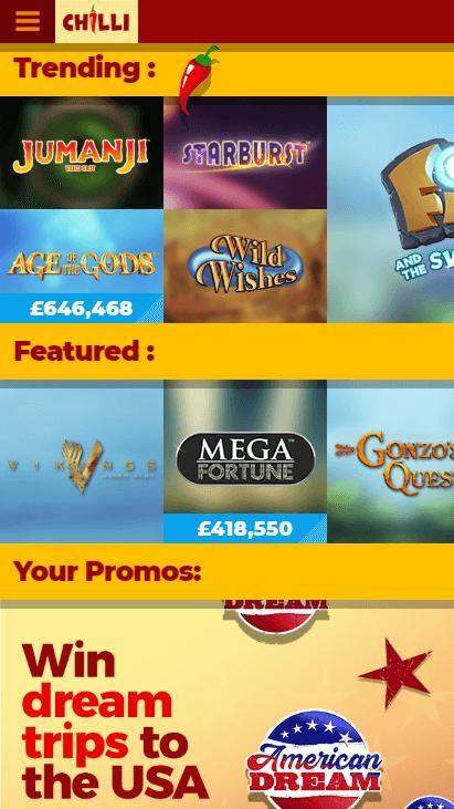 Chilli Casino Mobile Screenshot 2