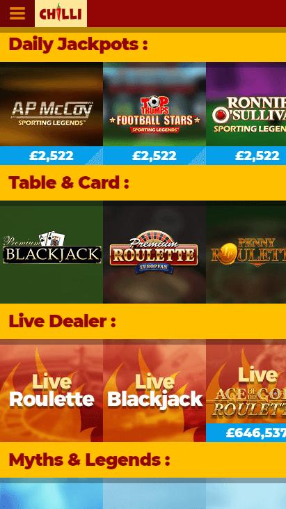 Chilli Casino Mobile Screenshot 3