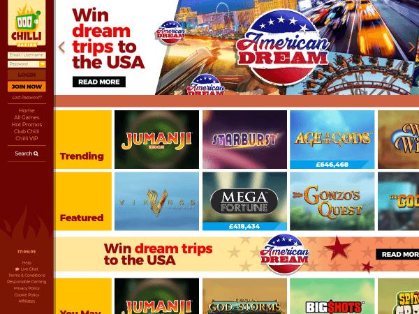 Chilli Casino Desktop Screenshot 3