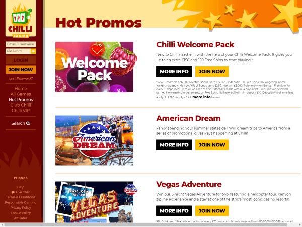 Chilli Casino Desktop Screenshot 6