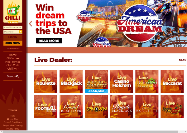 Chilli Casino Desktop Screenshot 7