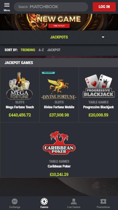 Matchbook Casino Mobile Screenshot 4