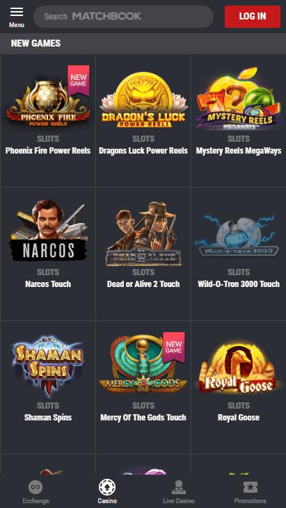 Matchbook Casino Mobile Screenshot 1