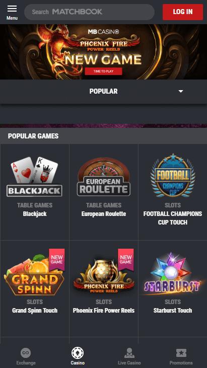 Matchbook Casino Mobile Screenshot 2