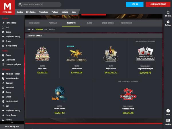 Matchbook Casino Desktop Screenshot 4