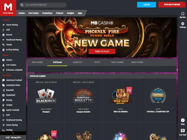 Matchbook Casino Desktop Screenshot 1