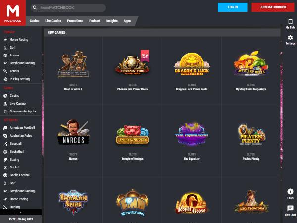 Matchbook Casino Desktop Screenshot 2