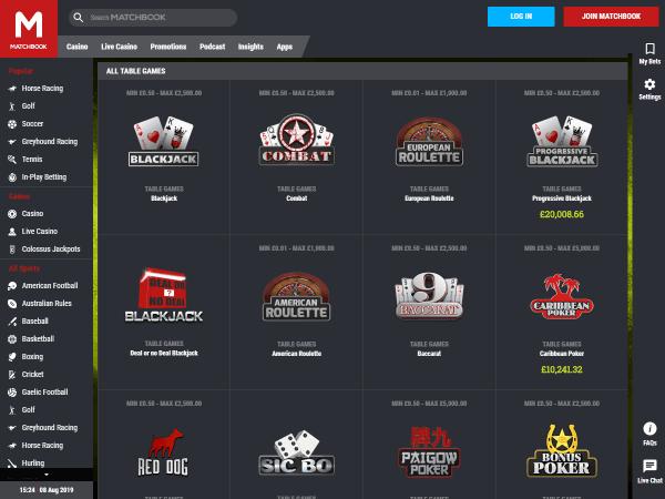 Matchbook Casino Desktop Screenshot 5