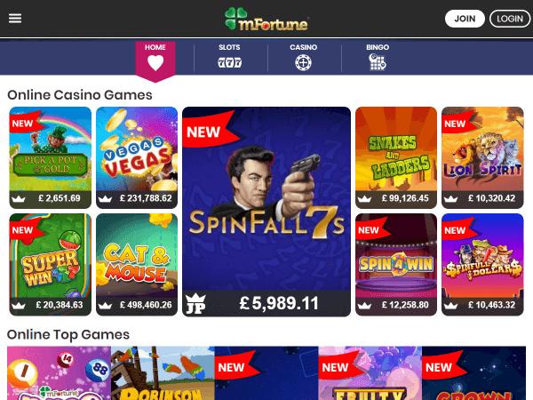 mFortune Desktop Homepage