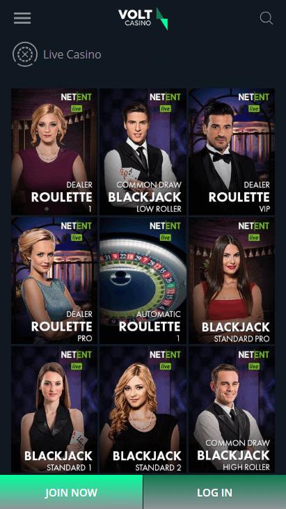 Volt Casino Mobile - Live Casino