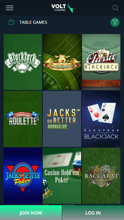Volt Casino Mobile - Table Games