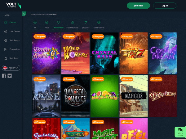 Volt Casino Desktop - Promoted Games