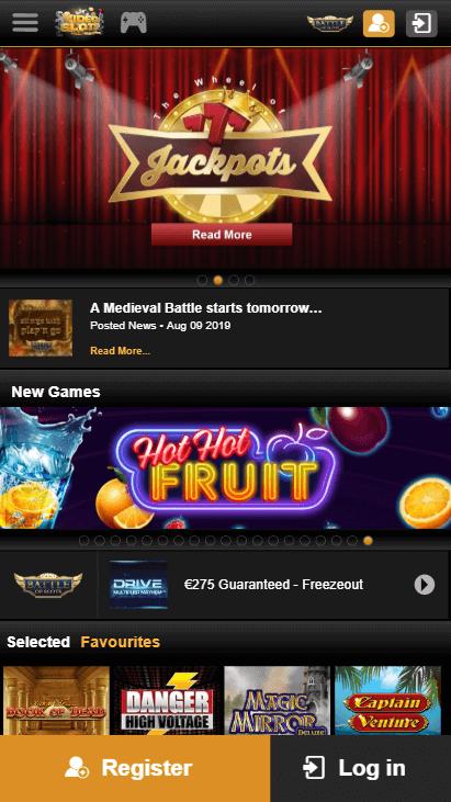 Videoslots Mobile - Homepage