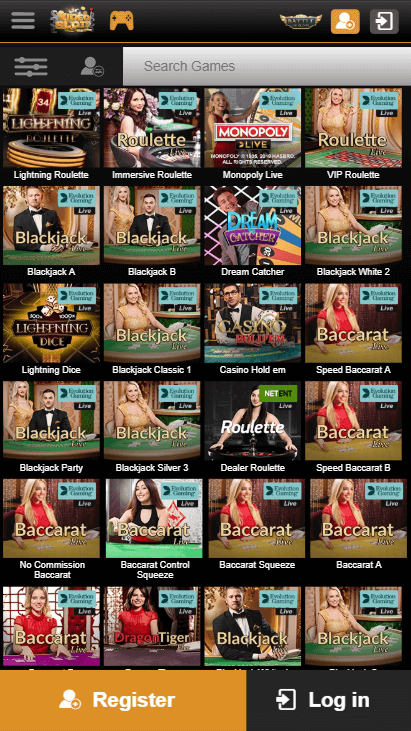 Videoslots Mobile Live Casino