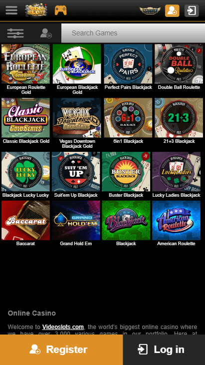 Videoslots Mobile Table Games