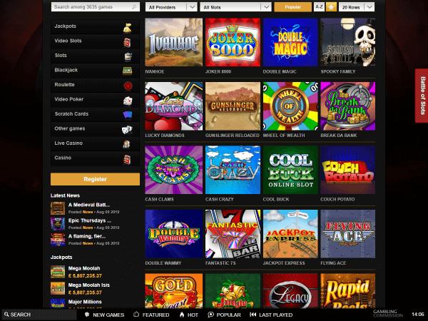 Videoslots Desktop Slots