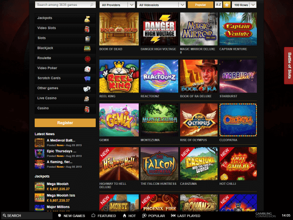 Videoslots Desktop Video Slots