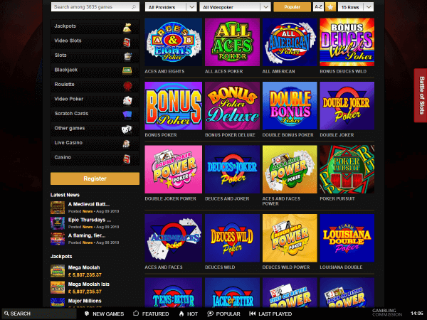 Videoslots Desktop Video Poker
