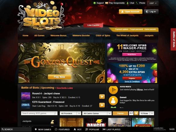 Videoslots Desktop Homepage