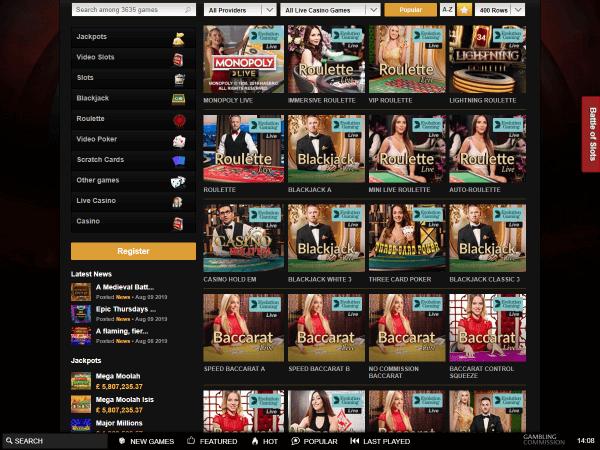 Videoslots Desktop Live Casino