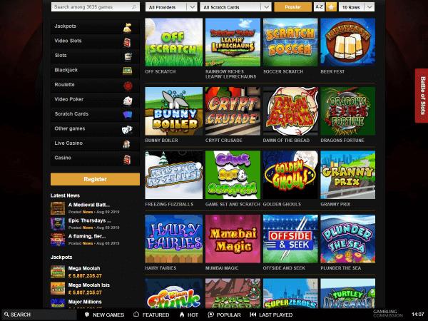 Videoslots Desktop Scratchcards
