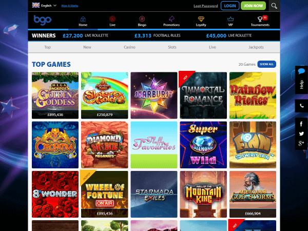 Bgo Desktop Homepage