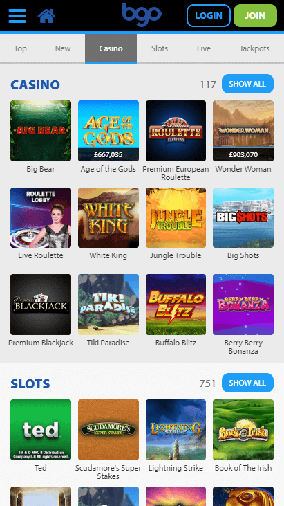 Bgo Mobile Casino Slots