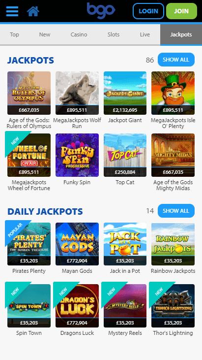 Bgo Mobile Jackpots