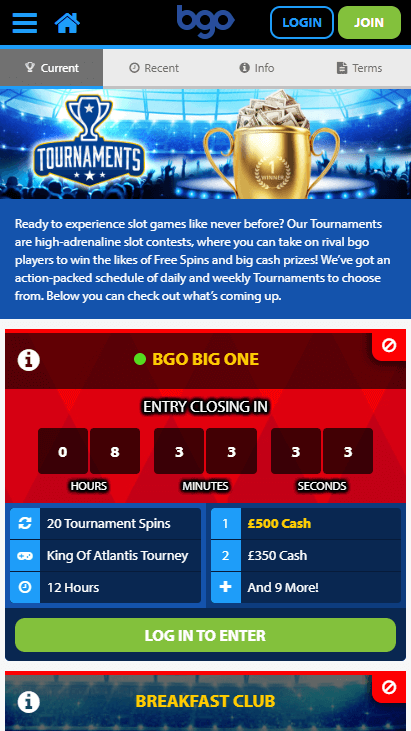 Bgo Mobile Tournaments