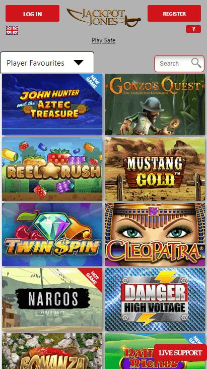 Jackpot Jones Mobile Popular Games