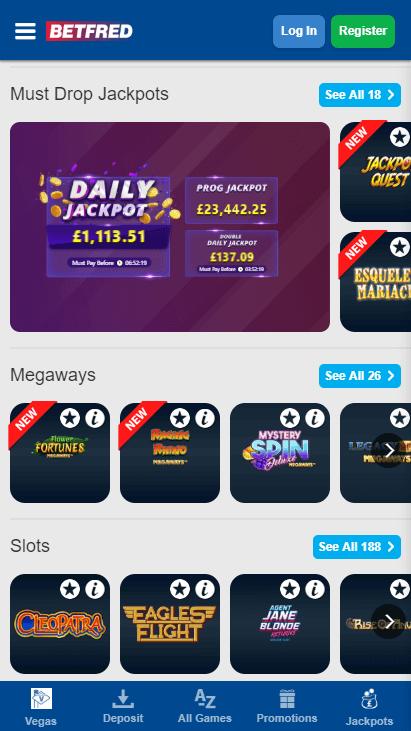 Betfred Casino Mobile Jackpots