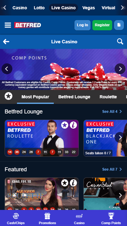Betfred Casino Mobile Live Casino
