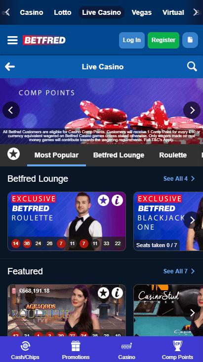 Betfred Casino Mobile Live Casino
