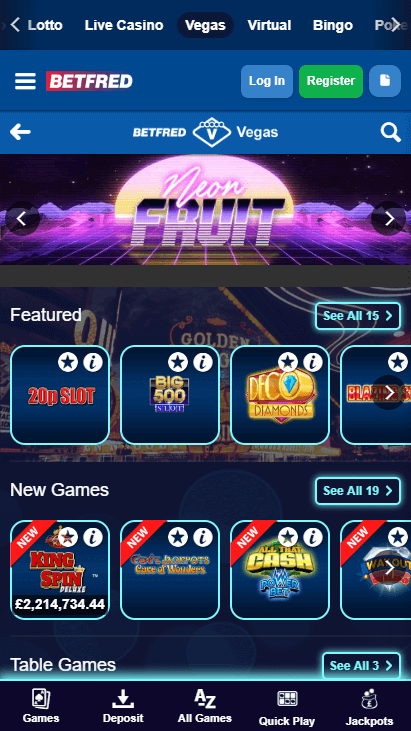 Betfred Casino Mobile Vegas