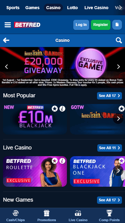 Betfred Casino Mobile Casino
