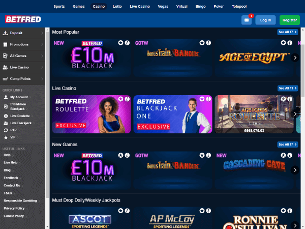 Betfred Casino Desktop Casino