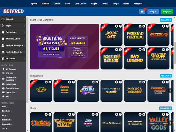 Betfred Casino Desktop Jackpots