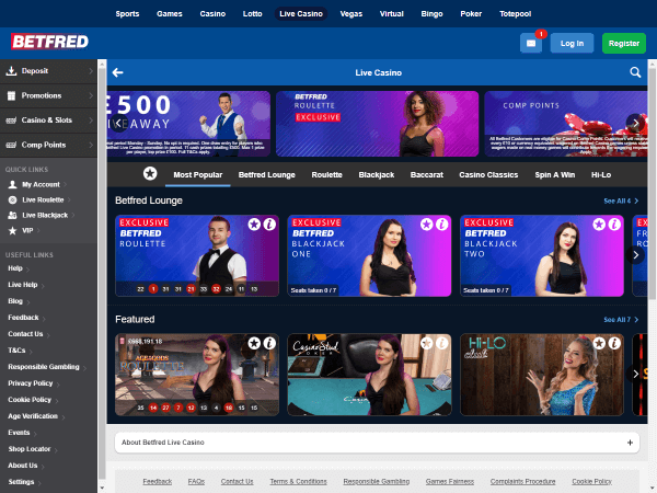 Betfred Casino Desktop Live Casino