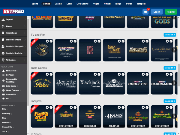 Betfred Casino Desktop Table Games