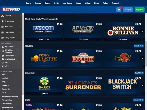 Betfred Casino Desktop Table Games 2
