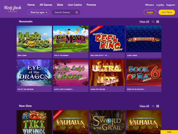 King Jack Casino Desktop Slots