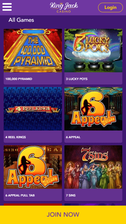 King Jack Casino Mobile Games